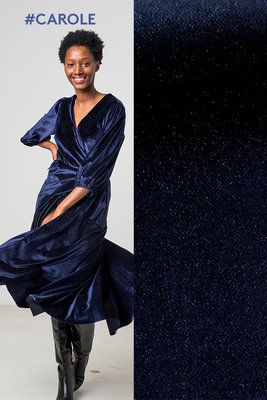 Carole blauwe fluwelen stof met glitter